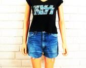"70's WRANGLER DENIM CUTOFFS vintage denim shorts slouchy distressed S M 30"""
