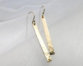 Hammered Gold Bar Earrings Stick Dangles