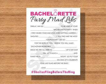 Bachelorette Party Mad Libs, Printable Bachelorette Party Mad Libs, A Fun Bachelorette Party Game, Printable Bachelorette Party Game