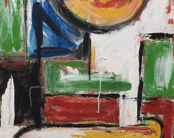 """Vintage Abstract Mid Century Modern Oil Painting C 1960s Signed De Paolo '69, 21"""" x 36"""" expressionist, brutalist  impasto"""