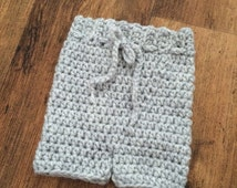 Newborn baby grey Shorties, longies, pants. Newborn Photography/ Photo prop.