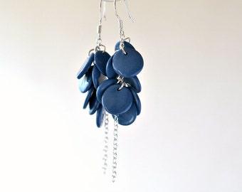 Mermaid - long dangle earrings, ink blue porcelain, sterling silver dangle drop earrings, bridal wedding jewelry