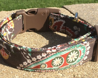 Brown Aqua Orange Paisley Dog Collar Size XS, S, M or L