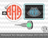 Ultrasound Tech Monogram Frames .DXF/.SVG/.EPS Files for use with your Silhouette Studio Software