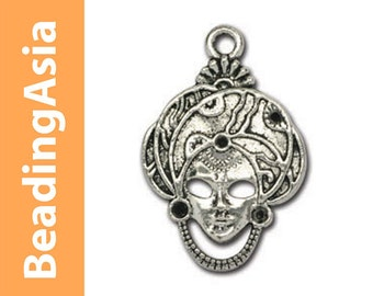 10 pcs Pendant Lead-Safe Pewter Masquerade Masks 21x31mm Antique Silver-Plated (612-008)