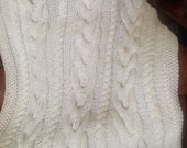 Ready-Made Knit Afghan---------------- V CABLES in WHITE