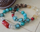 CORAL Turquoise Howlite Turtle Bracelets Set of Two with Zebra Wood and Citrine Beads