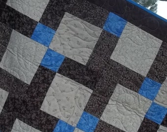 Brown, Blue and Beige Baby, Toddler, Crib, or Lap Quilt