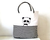 Large storage bag or tote bag with panda and genuine leather handles Toys Sack Storage of toys Canvas hamper Laundry basket Bin Black white