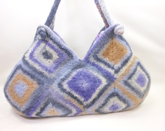 Clearance  Wool Purse in Shades of Blue, Grey and Camel  Fiber Art Granny Square Handbag