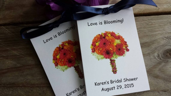 Personalized Wildflower Seeds with Gerber Daisy design on front for bridal shower or wedding day SALE CIJ Christmas in July