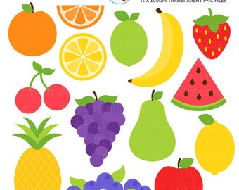 Fruit Clipart Set - clip art set of strawberry, apple, cherries, pineapple, fruits - personal use, small commercial use, instant download
