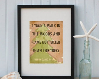 "Printable Typographic Art ""I Took A Walk In The Woods"" Quote by Thoreau Rustic Outdoor Decor Instant Digital Download"
