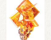 "Wulfenite Cluster -  5"" x 7"" Watercolor Art Print #0014"
