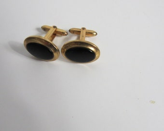 Vintage Black Onyx and Gold Tone Correct Quality Men's Cufflinks