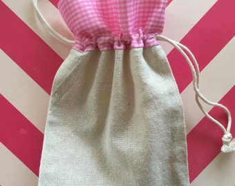 5x7 Cotton Drawstring Bag with Pink Gingham patterned top, Country chic, shabby chic party favor bags, wedding favors, birthday party supply