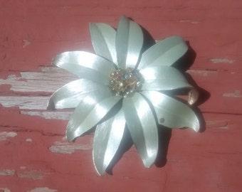 Vintage Large Silver Color Flower Brooch