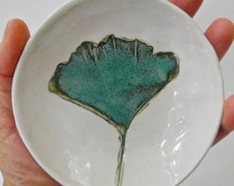Ginkgo Leaf dish, Hostess Gift, ring dish, Salt Bowl, small bowl, Ring bowl, little bowl, Jewelry organizer, teal, spoon rest, ring holder