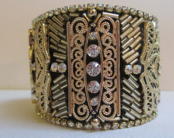 Cuff Bracelet Fabric Beaded Gold Tone