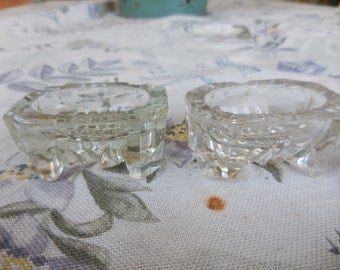 Vintage 1910s to 1930s Salt Cellars/Wells (2) Not Perfect Pair Set of Two Small Clear See Through Footed