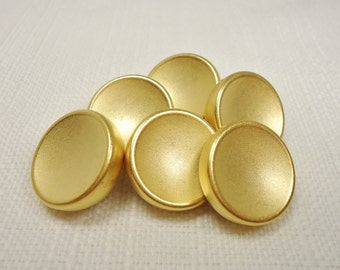 "Brushed Simplicity: 3/4"" (19mm) Gold Metal Buttons - Set of 6 New / Unused Matching Buttons"