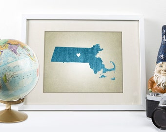 Massachusetts | State Map Print, State Map Print, Custom State Map, Map Art Print, Home State Map Art Print, State Map Art Print, Map Art