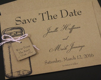 Tying The Knot, Save The Date, Wedding Announcement, Flat, Kraft, Country, Mason Jar, Christian, Vintage, Shabby Chic, BoHo, Rustic, Unique