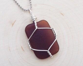 Brown Amber Sea Glass Pendant