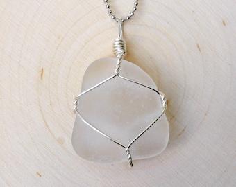 Pearl of the Sea- White Sea Glass Pendant