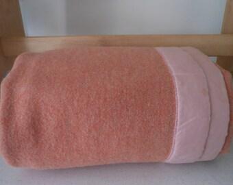 "1940s Wool Blanket Peachy 69""X81"" Medium Wt"
