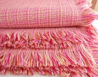 Fringed Woven Blanket Fine Light Wt Pinks Merlot Plaid
