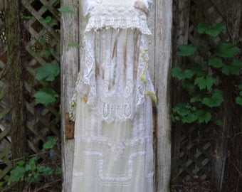Vintage Crochet Top/Vest,Boho Top,Upcycled Top,Victorian Top,Romantic Top,by Nine Muses Of Crete