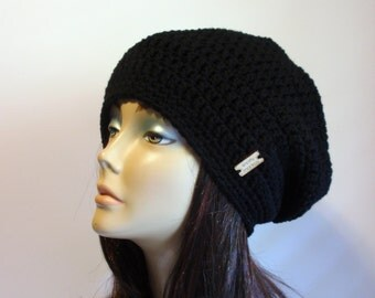 Slouchy Beanie Black Hat - Crochet Slouch Beanie Womens Chunky Black Beanie Hipster Hat - Black Slouchy Beanie - Fall Apparel - Vegan Hat