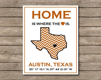 University of Texas Printable, Austin, Texas Longhorn Art Print Hook em!
