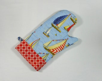 Nautical Sailboat Oven Mitt