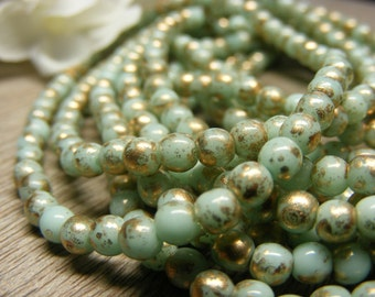 50 Opaque Mint Green with Gold 4mm Pressed Glass Czech Round Beads - (bk0414)
