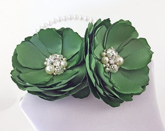 Clover Green Satin Flower Hair Clip - Shoe Clips, Brooch Pin for a Bride, Bridesmaid Gift, Flower Girl, Event, Family Photo Many Color - Kia