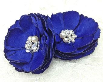 Cobalt Blue Satin Flowers - Hair Pins, Brooch, Shoe Clip - Swarovski Sew on Crystal, Pearls for a Bride, Bridesmaid, Formal Occasion - Kia