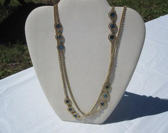 Blue Bezel Chain Necklace
