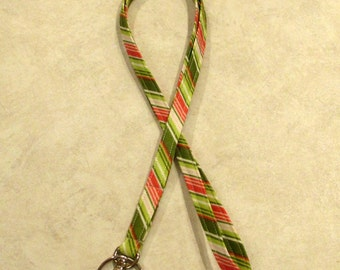 Sale Fabric ID Badge Holder Lanyard--Riley Blake Summer Song Pink and Green Stripe 1/2 inch