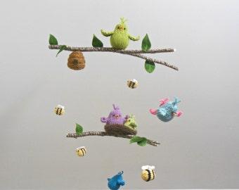 Bird and Bee Garden Baby Mobile, Bird Hanging Crib Mobile, bee mobile, baby mobiles, Woodland nursery mobiles, crib mobile, garden mobile