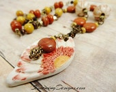 Handmade Ceramic Daisy, Red Jasper, Yellow Jasper, Wood and Glass Necklace, rustic boho jewelry, Fall Colors, Rustic Jewelry