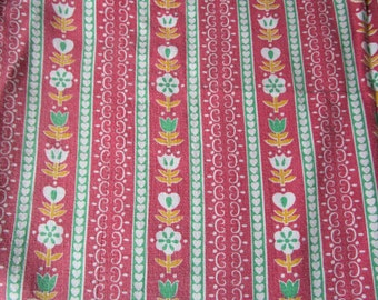 Vintage French Faded Alsace Fabric Red and Green Stripes Hearts Tulips Suitable for Patchwork Quilting, Lavender Bags Feedsack