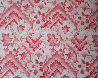 Vintage French Fabric Red and White Leaves Abstract Design Retro Suitable for Patchwork Quilting, Lavender Bags Feedsack