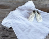 White Baby Dress with White Leather Shoes Girls Vintage Cotton White Dress with Embroidery and Pin Tucks