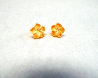 Orange And Yellow Hibiscus Flower Earrings Post