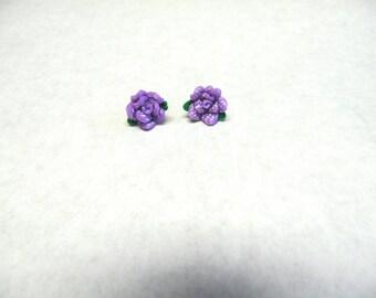 Purple White Flower Earrings Post