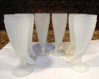 Set Of Six Frosted White Horn Drinking Glass Glasses