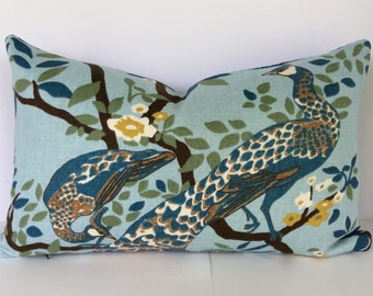 Vintage Plumes Jade Peacock Decorative Pillow Cover - Limited Supply