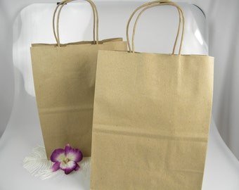 """CLEARANCE Sale \ 10 Kraft Paper Handle Bags \ Recycled Sacks \ Eco Friendly Packaging \ Gift Bags  (8"""" X 4-3/4"""" x 10-1/4"""")"""